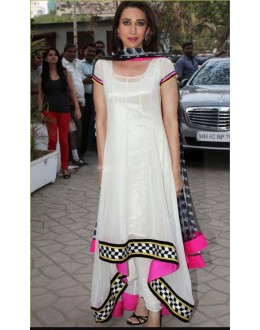 Bollywood Inspired : Karishma Kapoor In White Anarkal Suit -  KK01