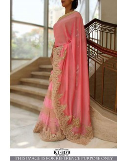 Bollywood Inspired - Party Wear Embroidered Pink Saree  - KT-3178