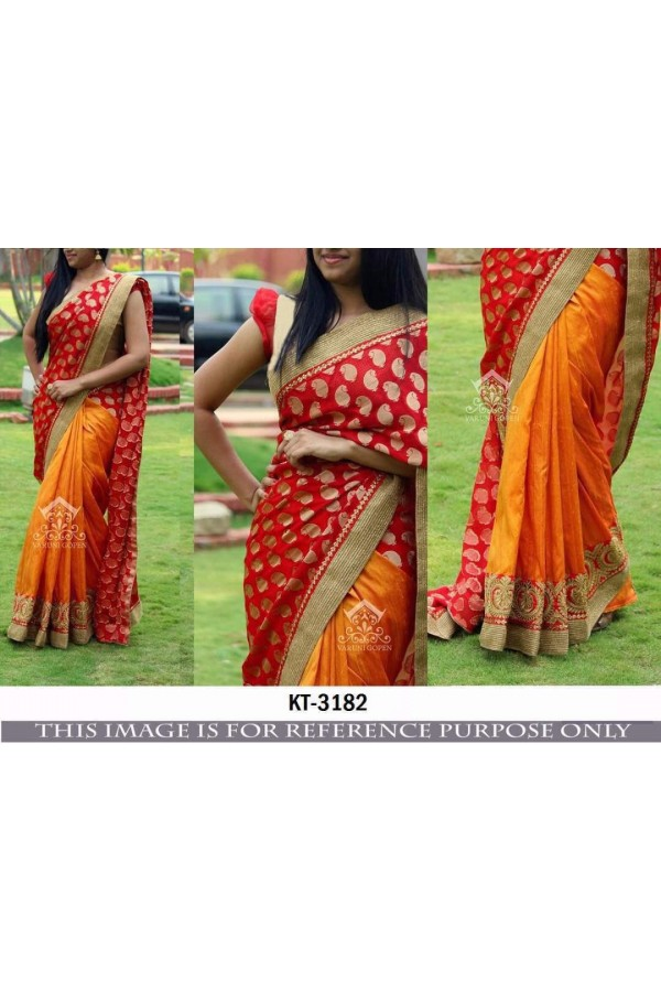 Bollywood Inspired - Designer Orange & Red Half & Half Saree  - KT-3182