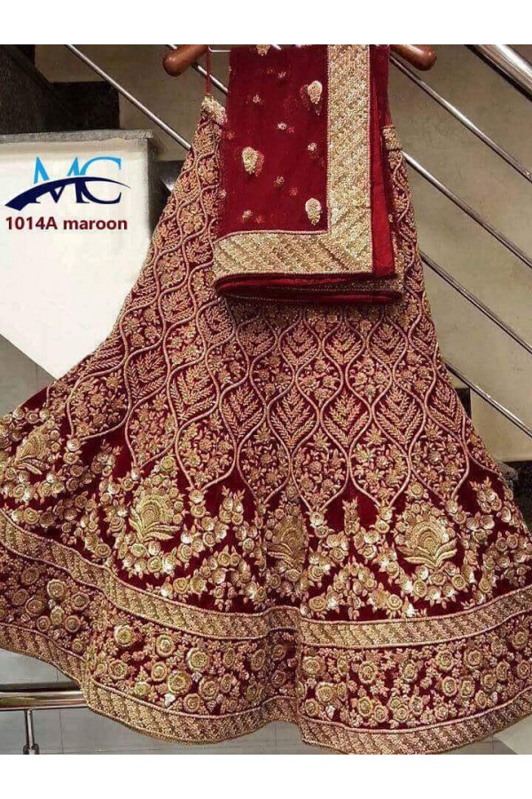 Bollywood Style - Bridal Wear Maroon Embroidered Lehenga Choli - MC-1014A