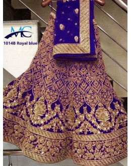 Bollywood Style - Bridal Wear Royal Blue Embroidered Lehenga Choli - MC-1014B