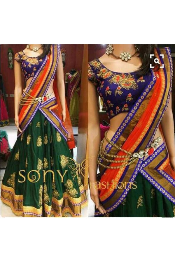 Bollywood Style - Bridal Wear Green Embroidered Lehenga Choli  - MF-21