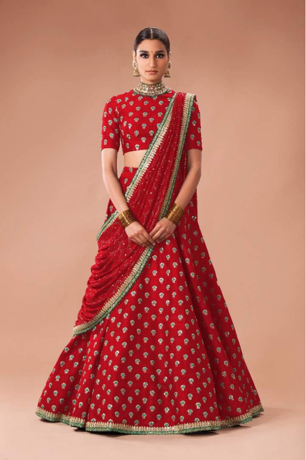 Bollywood Style - Heavy Bridal Red Art Silk Lehenga Choli  - S606