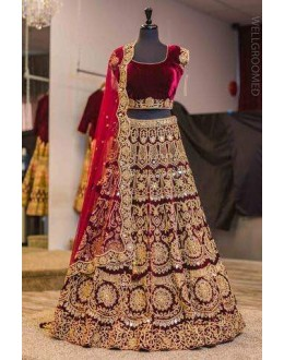 Bollywood Style - Bridal Wear Maroon VelvetLehenga Choli  - S609