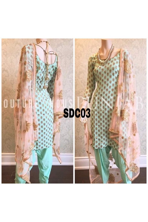 Bollywood Inspired : Party Wear Light Pista Chanderi Green Salwar Suit -  SDC03