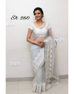 Bollywood Inspired - Kajal Agarwal In White Georgette Saree - Sr.260