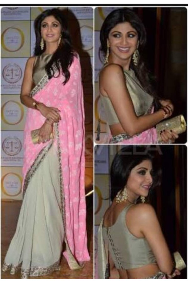 Bollywood Inspired - Shilpa Shetty In Designer Pink & White Saree  - SSP