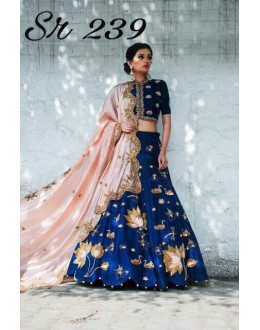Bollywood Style - Designer Blue Embroidered Silk Lehenga Choli  - Sr 239