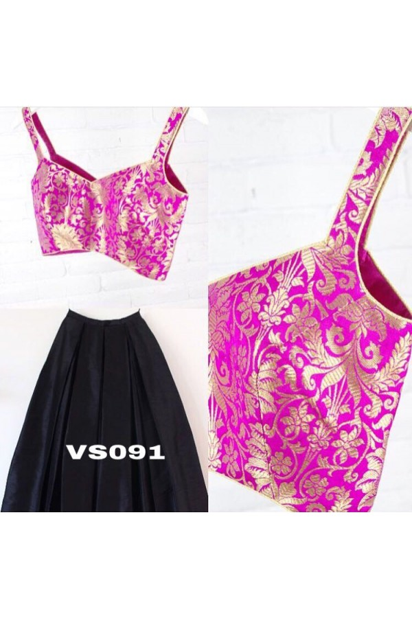 Bollywood Inspired - Designer Blak & Pink Silk Lehenga Choli  - VS091