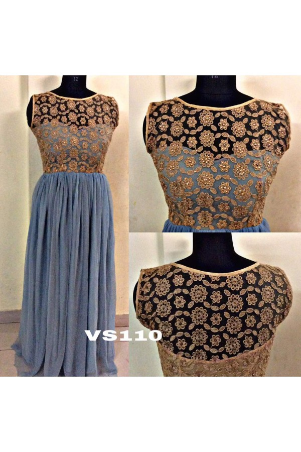 Bollywood Inspired - Ready To Wear Ash Grey Soft Net Gown - VS110