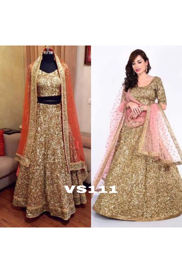 Bollywood Style - Adoring Golden Heavy Sequins Work Lehenga Choli - VS111