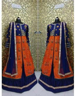 Bollywood Inspired  - Wedding Wear Orange & Blue Indo-Western Suit - bs-03-2