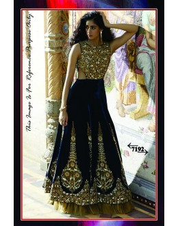 Bollywood Replica - Wedding Wear Blue & Golden Velvet Lehenga Choli  - 7192