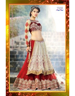 Bollywood Replica -  Bridal Wear Designer Off-White & Red Embroidered Net Lehenga Choli  - 7238