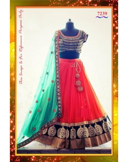 Bollywood Replica -  Bridal Wear Designer Pink & Blue Net & Velvet Lehenga Choli  - 7239