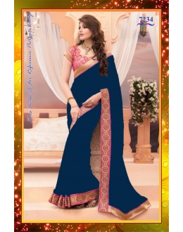 821564c78ae Bollywood Replica - Party Wear Blue   Pink Pure Satin Saree - 7234