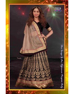 Bollywood Replica -  Tamannah Bhatia Designer Black Velvet Embroidered Lehenga Choli  - 7223