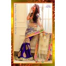Bollywood Replica - Wedding Wear Beige Net & Blue Georgette Embroidered Saree - 7232