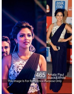 Bollywood Replica-Amala Paul Designer Black Georgette Party Wear Saree-465(SIA-400)