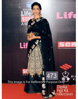 Bollywood Replica-Deepika Padukone Designer Black Embroidered Party Wear Saree-473(SIA-400)