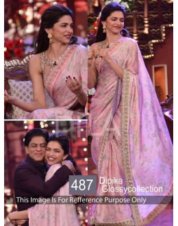 Bollywood Replica-Deepika Padukone Designer Glossy Pink Party Wear Saree-487(SIA-400)