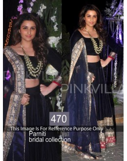 Bollywood Replica-Parineeti Chopra Designer Black Wedding Lehenga Choli-470( SIA-400 )