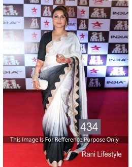 Bollywood Replica-Rani Mukherjee Designer Black & White Beautiful Party Wear Saree-434(SIA-400)