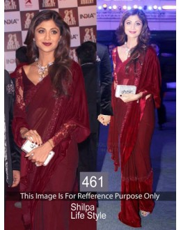 Bollywood Replica-Shilpa Shetty Designer New Maroon GorgeousParty Wear Saree-461(SIA-400)