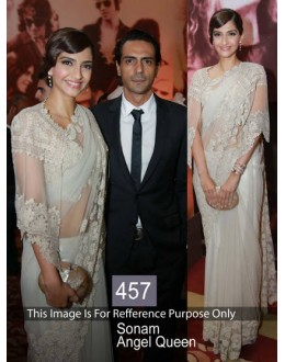 Bollywood Replica-Sonam Kapoor Designer Stylish White Party Wear Saree-457(SIA-400)