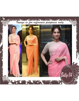 Bollywood Replica-Tamannah Bhatia Designer Pink Georgette Elegant Party Wear Saree-84(SIA)