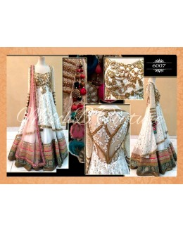 Bollywood Replica-Designer Pink & White Heavy Embroidered Net Lehenga Choli - 6007 - ( SIA-6000 )