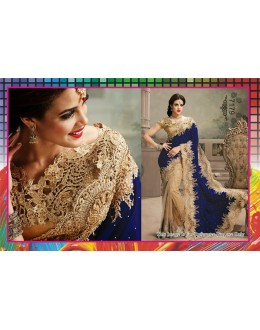 Bollywood Replica-Designer Blue & Gold Micro Velvet & Net saree-7179 ( SIA -S-7000 )