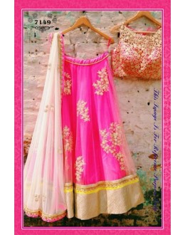 Bollywood Replica-Designer Embroidered Pink Net Lehenga Choli-7149 ( SIA -S-7000 )