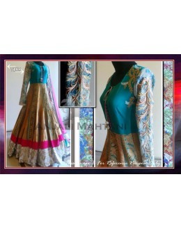 Bollywood Replica-Designer Heavy Embroidered Blue & Beige Long Anarkali Suit-7185( SIA-7000 )