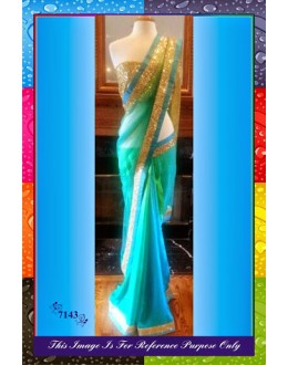Bollywood Replica-Designer Stylish Blue Net Party Wear Saree-7143 ( SIA -S-7000 )