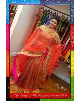Bollywood Replica -  Prachi Desai Designer Orange Net Lehenga Choli  -  7140