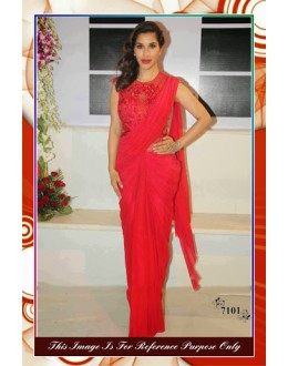 Bollywood Replica-Sophie Chaudhary In Dazzling Red Georgette Party Wear Saree-7101 ( SIA -S-7000 )