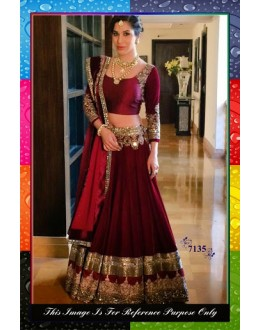 Bollywood Replica-Sophie Chaudhary In Designer Maroon Pure Silk Bridal  Lehenga Choli - 7135 ( SIA -S-7000 )