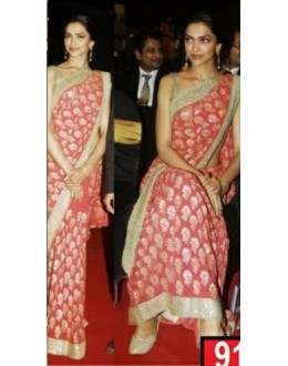 Bollywood Replica-Deepika Padukone Designer Carrot Red Heavy Worked Georgette Party Wear Saree-9198( SIA -S-9200 )
