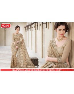 Bollywood Replica-Designer Beige Heavy Worked Net Wedding Wear Saree-9249(SIA-S-9200)