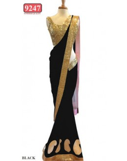 Bollywood Replica- Designer Black Colour Net Fancy Party Wear Saree-9247-J(SIA-S-9200)