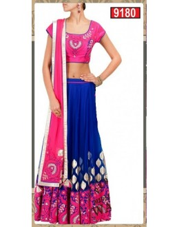 Bollywood Replica-Designer Blue & Pink Embroidered Beauitful Lehenga Choli-9180( SIA-9200 )