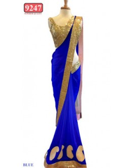 Bollywood Replica- Designer Blue Net Fancy Party Wear Saree-9247-A(SIA-S-9200)