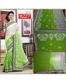 Bollywood Replica-Designer Embroidered Kiwi Green Chiffon Party Wear Saree-9227(SIA-S-9200)