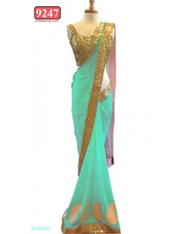 Bollywood Replica- Designer Firozi Colour Net Fancy Party Wear Saree-9247-C(SIA-S-9200)
