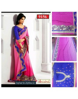 Bollywood Replica-Designer Glamorous Jacquard Blue & Hot Pink Party Wear Saree-9156( SIA -S-9200 )