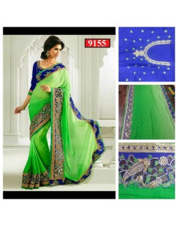 Bollywood Replica-Designer Glamorous Jacquard Green Party Wear Saree-9155( SIA -S-9200 )