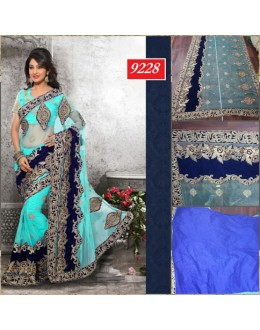 Bollywood Replica-Designer Heavy Worked Firozi Blue Net & Velvet Party Wear Saree-9228(SIA-S-9200)