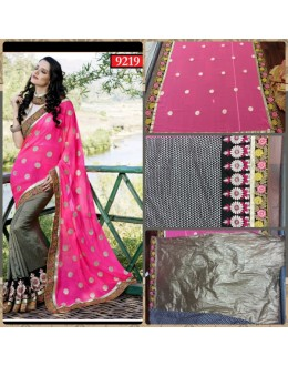 Bollywood Replica-Designer Neon Pink Georgette & Jacquard Party Wear Saree-9219( SIA -S-9200 )