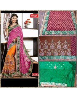 Bollywood Replica-Designer Orange & Pink Viscose,Net Heavy Worked Party Wear Saree-9230(SIA-S-9200)